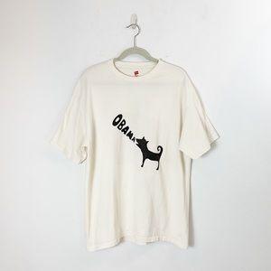 Obama 2008 Barking Dog T Shirt Unisex L